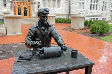 "A last look at Ernie Pyle outside of Franklin Hall. A ""graduate"" of Indiana University, Pyle did some of the best reporting of World War II."