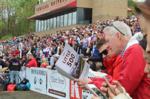 Hundreds of students and alumni pack into Bill Armstrong Stadium to watch the 67th Men's Little 500.